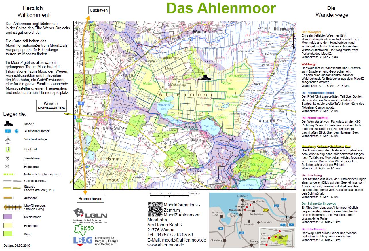 Für Besucher wurde eine Karte zur Orientierung im Gebiet Ahlenmoor neu gestaltet.